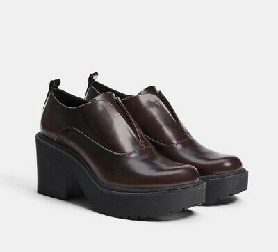 BNWT Bershka Maroon Derby Platform Loafer Heeled Shoes UK 6 39 na sprzedaż  Wysyłka do Poland