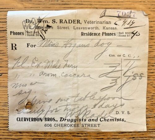 Antique 1914 Handwritten Veterinarian Prescription Ephemera Leavenworth Kansas