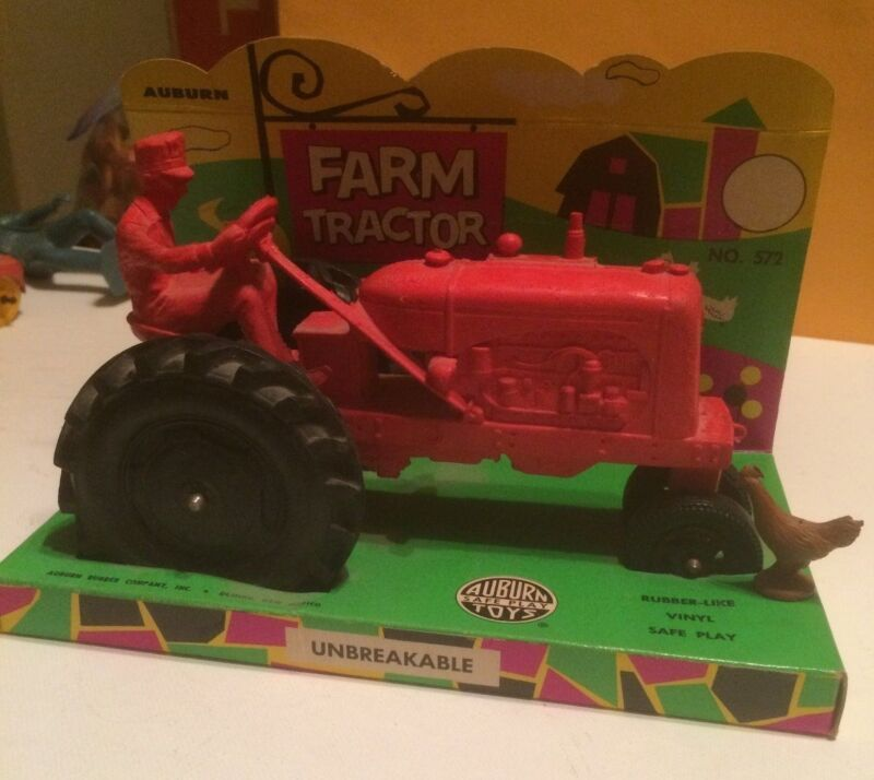 Vintage '50s AUBURN Rubber #572 Farm Tractor. Red w/ Black Tires.  MINT IN BOX.
