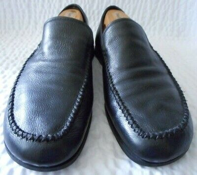 Gianni Versace Black Leather Men's Loafer Shoes Size 8