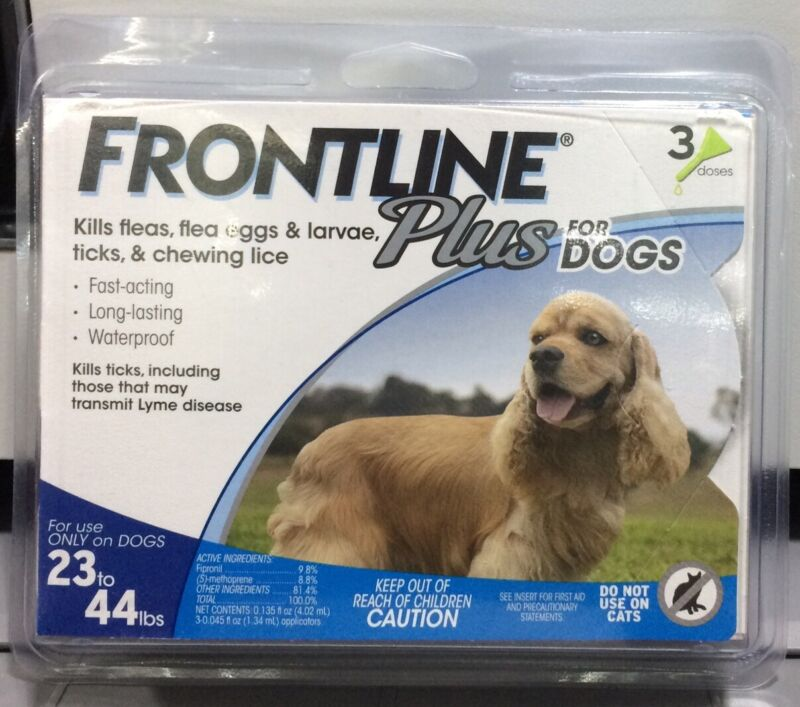 FRONTLINE PLUS FOR DOGS 23-44 3 Month Doses New