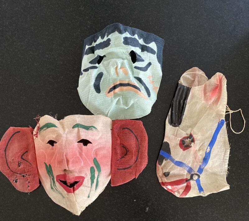Lot 3 Vintage/Antique Halloween Mask In Gauze Frankenstein, Donkey? Monkey?