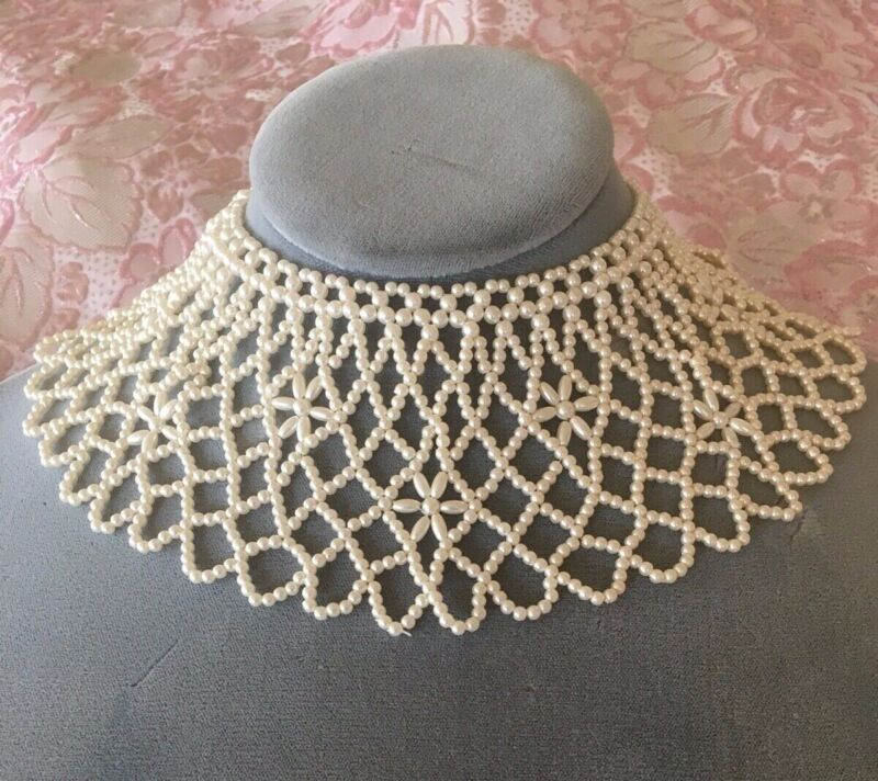 Vintage Antique Hand Crafted Faux Pearl Collar Necklace Ruth Bader Ginsburg Goth