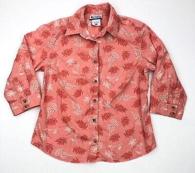 Columbia Womens Short Sleeve Button Up Shirt Size Medium Pink Jelly Fish Hawaii Medium Pink Jelly