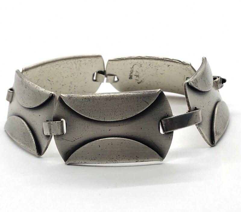 """Vintage Sterling Silver Bracelet 925 Mid Century Modernist Signed 7"""" 34 Grams"""