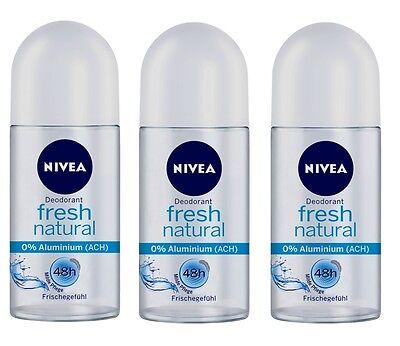 (64,00€/L) 3x 50ml Nivea Fresh Natural Deo Roll On 48h OHNE ALUMINIUM Deodorant