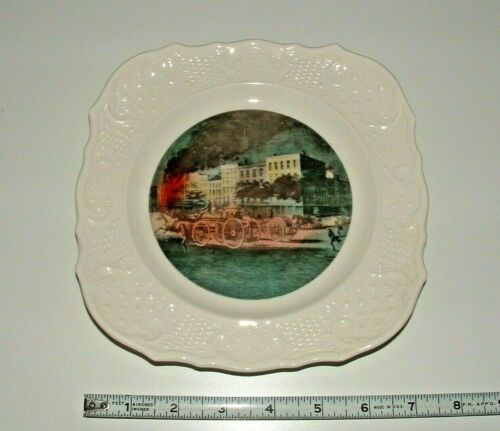 Life of A Fireman Decorative Plate, Sun Glo Studios / Currier & Ives, pre-owned