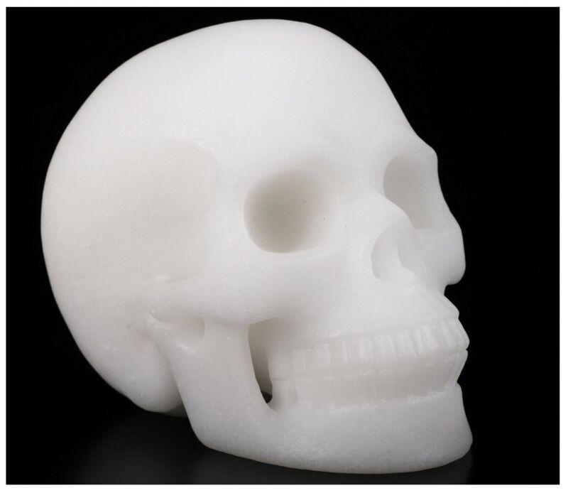 "Huge 5.0"" WHITE JADE Carved Crystal Skull, Realistic, Crystal Healing #938"
