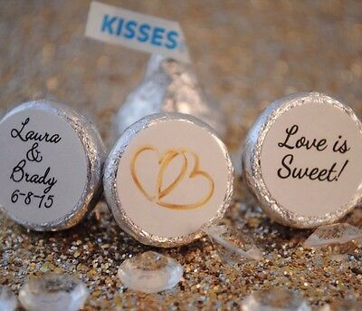 108 Love is Sweet, Double Hearts Personalized Hershey Kiss Stickers Favors - Love Is Sweet Stickers