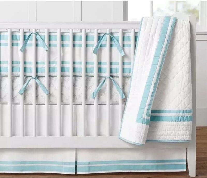 Pottery Barn Kids Baby Aqua Classic HARPER Cotton Crib Bed Skirt