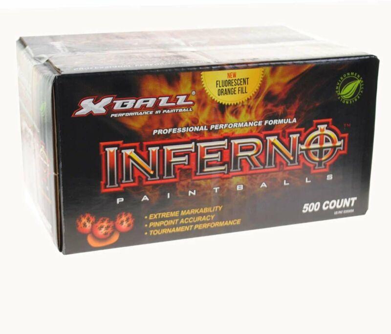 GI Sportz XBALL Inferno Paintballs - .68 Caliber - 2 Tone Shell - Orange Fill...