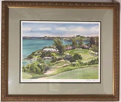 FRAMED, SIGNED & MATTED PRINT- CASTLE HARBOR BY DIANA AMOS, BERMUDA ARTIST