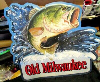 Vintage Old Milwaukee beer jumping Bass metal tin sign 1994 GREAT DEN SIGN