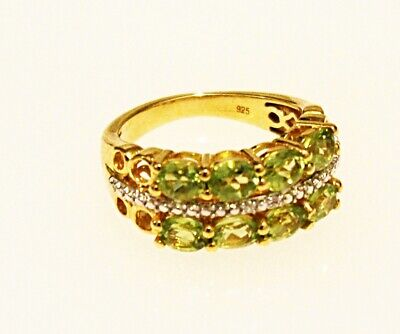 Large Gold on Sterling Silver Peridot & White Zircon Ring UK Size Q US 8¼