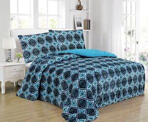 3-Piece-Medallion-Micromink-Sherpa-Reversible-Blanket-Comforter-Set-King-Blue