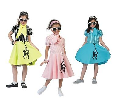 #GIRLS PINK / YELLOW / BLUE POODLE DRESS FOR KIDS FANCY DRESS 50s COSTUME