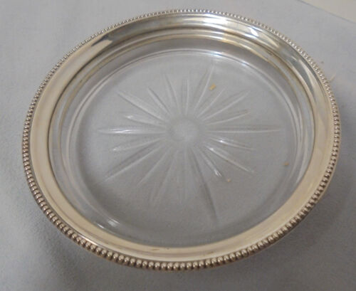 """Sterling & Pressed Glass Coaster, Marked Sterling, .75"""" Tall, 4.25"""" Across Top"""