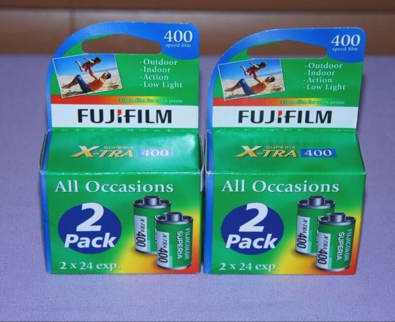 Lot of 4 Rolls Fujifilm Superia X-TRA ISO 400 24 Exposure 35mm Color Film - NEW