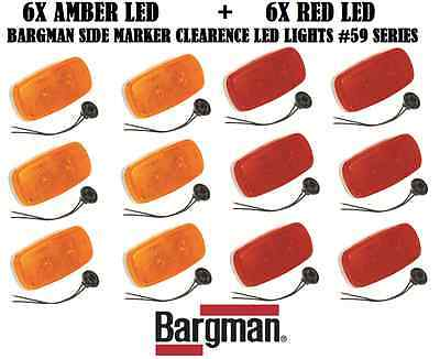 6xRED + 6xAMBER BARGMAN LED SIDE MARKER CLEARANCE LIGHT #59 TRAILER TRUCK LIGHTS