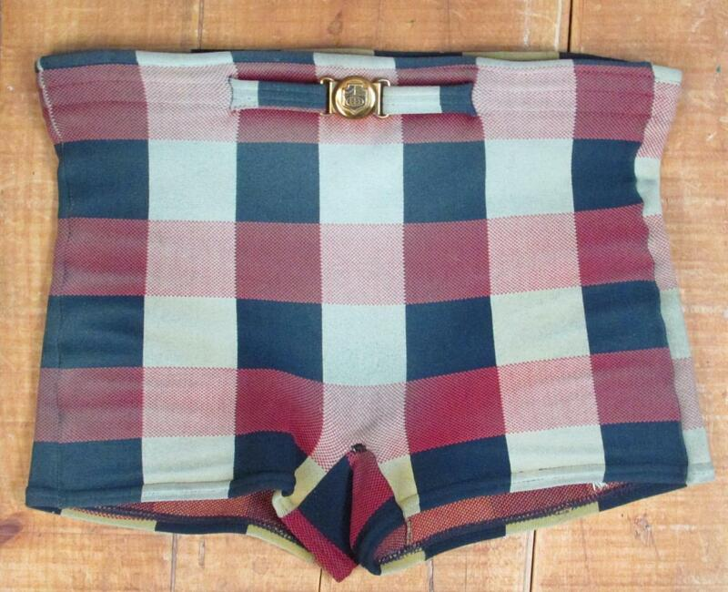 Vintage 1950s Jantzen Color Block Plaid Swimsuit Board Shorts Sz.M Beach Surfer