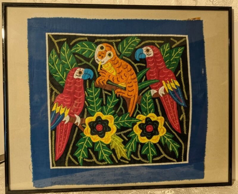 Vintage Parrots & Sloth Mola Applique Textile Art Framed Jungle Birds Animals