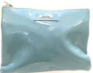 7ec4277a032 NEW MIU MIU Cosmetic Blue Hand Bag Makeup Clutch Purse