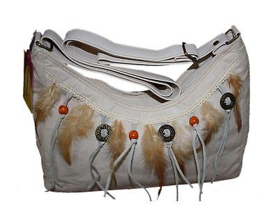 Damen Umhänge Tasche Handtasche Feder Perlen beige Neu