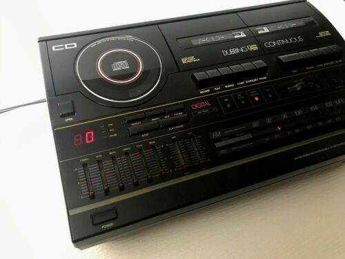 Soundesign 5999BLK compact stereo system dual cassette CD player mid century