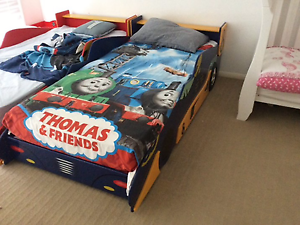 Blue racing car bed (Single) WITH brand new matching side table North Maclean Logan Area Preview