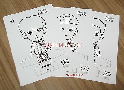 EXO EXOS 1ST COLORING BOOK A DAY IN EXOPLANET 3 CARD SET