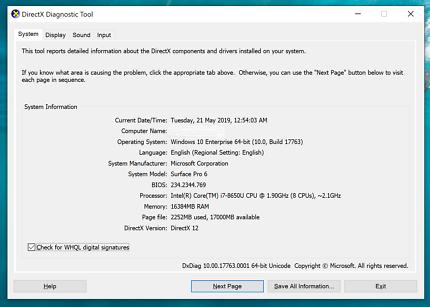 Microsoft Surface PRO 6 (i7 8650U,16GB RAM, 512GB SSD,WIN 10 ENT