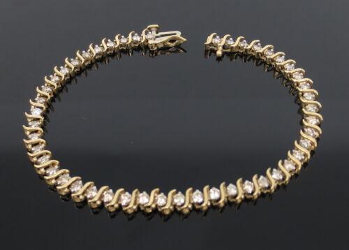 Vintage 2.0ct Diamond & 14k Yellow Gold S Link Tennis Straight Line Bracelet