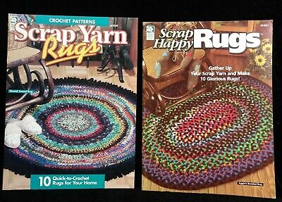 SCRAP YARN RUGS Scrap Happy Rugs Crochet Rag Rug Pattern Book Lot House Of -