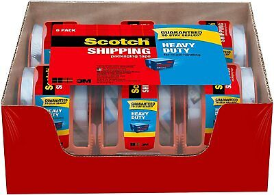 3m Scotch Clear Shipping Packing Tape 1.88x800 6 Rolls Wdispenser Heavy Duty