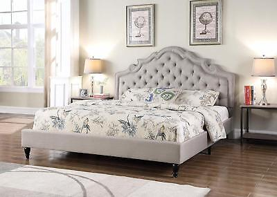 Queen Size Platform Bed Light Grey Button Accents Arched Headboard & Frame Country Queen Size Bed