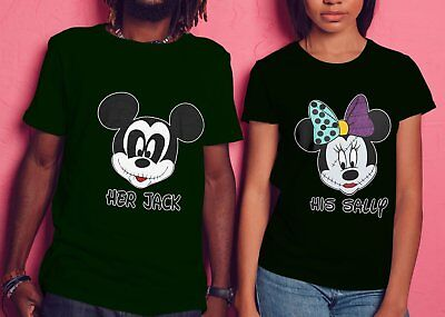 Mickey- Minnie His Sally and Her Jack Matching Halloween T-Shirts for Couples.](Halloween For Couples)