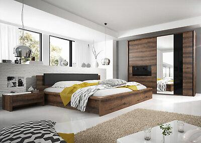 Schlafzimmer-set Kopfteil (Schlafzimmer Komplett Schrank Bett 160x200cm monastery eiche schwarz Glas 23628)