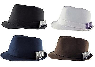 Itzu Herren Klassisch Einfarbig Trilby Fedora Hut Kappe - Weißer Fedora Hut