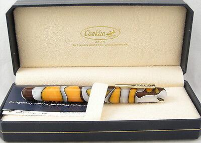 Conklin All American Yellowstone & Gold Fountain Pen - Fine Nib - NEW!