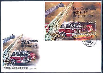 BURUNDI 2012 FIRE ENGINES AND TRUCKS SOUVENIR SHEET FDC
