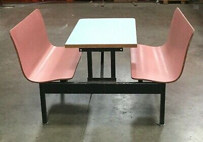 Restaurant Dining Table w/ 2 Connected Booth Bench Seats / 42