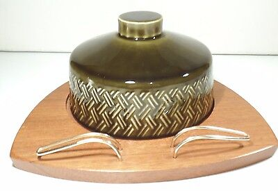 Vintage Retro Cheese dish  Wyncraft teak base Lord Nelson pottery Green Dome