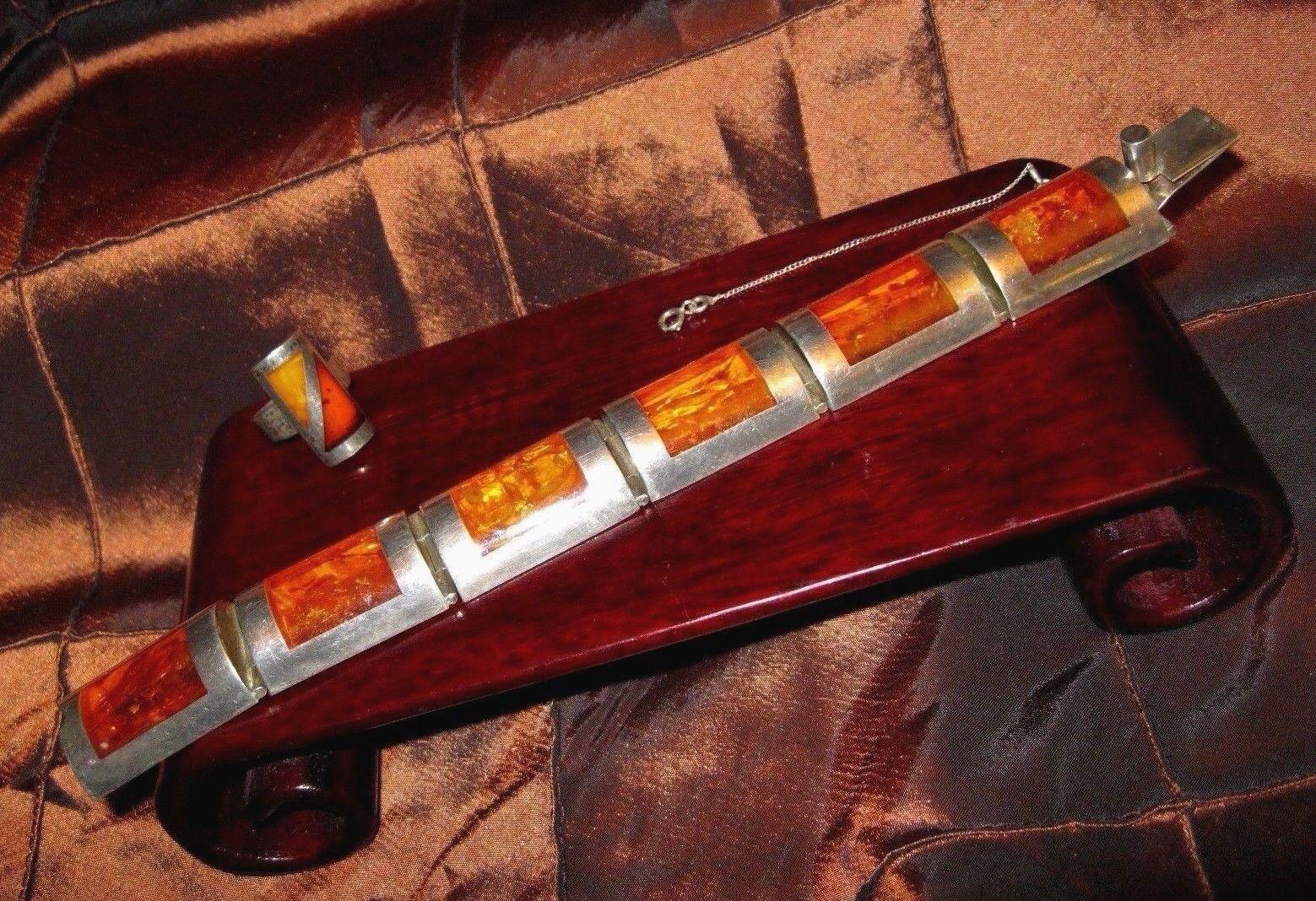 MTM Modernist Sterling Silver Baltic Amber Hinged 6 Panel Link Bracelet Ring Set