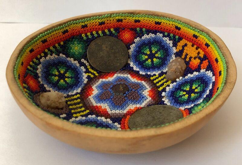 Rare Mexican Huichol Indian Peyote Bead Jicara Art Prayer Bowl Gourd Coins Stone