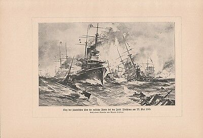 Schlacht von Tsushima DRUCK von 1913 Russisch-Japanischer Krieg Seeschlacht