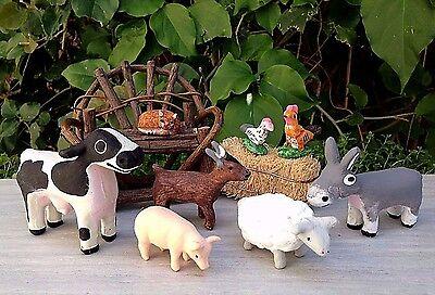 Miniature Dollhouse Fairy Garden   Set Of 8 Farm Animals Cow Sheep Goat Pig Cat