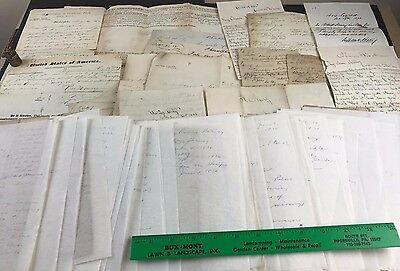 Lot of 75+ Antique Letters Documents 1800's Immigrant Harvey Hervey Dougherty
