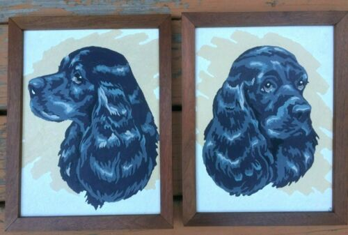 2 - Paint By Number Paintings COCKER SPANIELS Walnut Frames