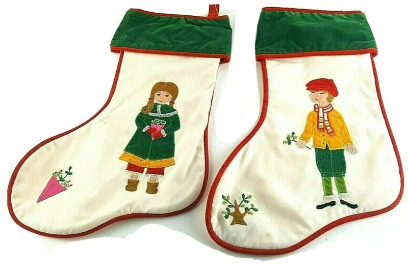 HOUSE OF HATTEN Stockings Christmas Traditional Victorian Boy Girl Family 1976