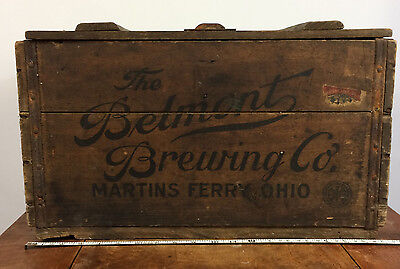 Rare Antique Pre Prohibition Belmont Brewing Co Martins Ferry Beer Crate Box Vtg